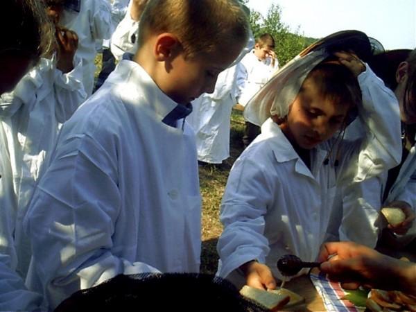 dzieci na wycieczce edukacyjnej w pasiece